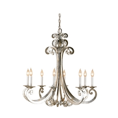 Chandelier in Contemporary Silver Leaf Finish