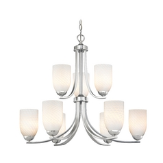 Chrome Modern Chandelier with Nine Lights and White Art Glass