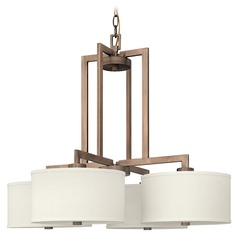 Hinkley Modern 4-Light Chandelier with White Shade in Brushed Bronze