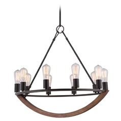 Industrial Edison Bulb Chandelier Bronze 28-Inch by Quoizel Lighting
