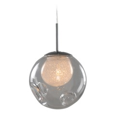 Kalco Meteor Chrome Mini-Pendant Light with Globe Shade