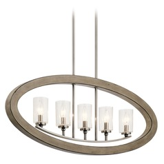 Seeded Glass Linear Chandelier Gray Kichler Lighting