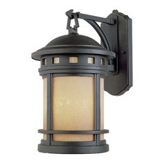 Outdoor Wall Light with Amber Glass in Oil Rubbed Bronze Finish