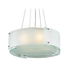 Modern Drum Pendant Light with White Glass in Polished Chrome Finish