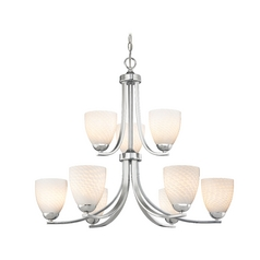 Two Tier Chandelier with White Art Glass Bell Shades and Nine Lights