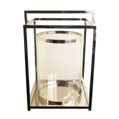 Hurricane Candle Holder with Center Clear Glass - 20-Inches Tall