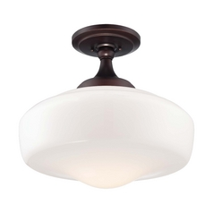 Semi-Flushmount Light with White Glass in Brushed Bronze Finish