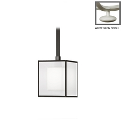 Fine Art Lamps Black + White Story White Satin Lacquer Mini-Pendant Light with Square Shade
