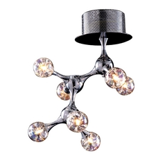 Modern Semi-Flushmount Light with Clear Glass in Polished Chrome Finish