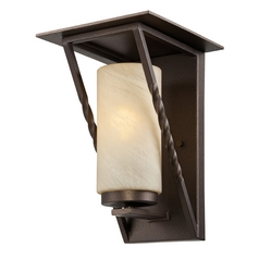 Outdoor Wall Light with Beige / Cream Glass in Flemish Bronze Finish