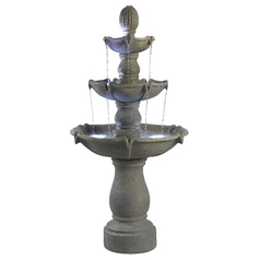 LED Outdoor Fountain in Dusty Travertine Finish