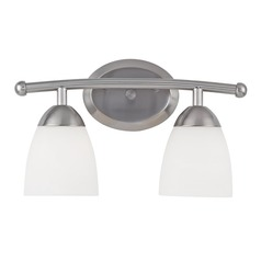 Design Classics Lighting Modern Bathroom Light with White Glass in Satin Nickel Finish 8942-09