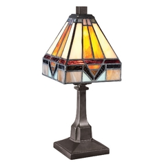 Quoizel Lighting Accent Lamp with Art Glass in Bronze Patina Finish TF1021TVB