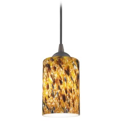 Design Classics Lighting Modern Mini-Pendant Light with Brown Art Glass 582-220 GL1005C