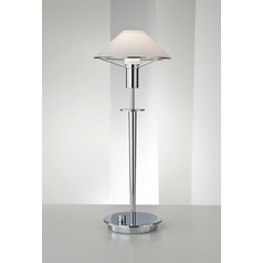 Holtkoetter Modern Table Lamp with White Glass in Chrome Finish