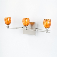 Holtkoetter Modern Bathroom Light with Amber Glass in Satin Nickel Finish