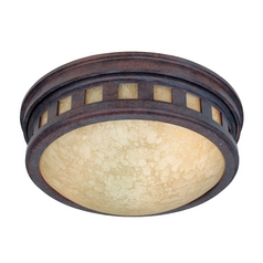 Close To Ceiling Light with Amber Glass in Mediterranean Patina Finish