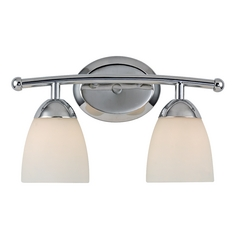 Design Classics Lighting Modern Bathroom Light with White Glass in Chrome Finish 8942-26
