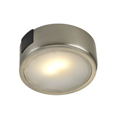 Satin Nickel Surface Mount LED Puck Light - 3000K LED