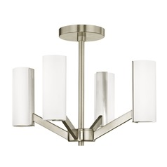 Modern LED 4 Light Semi-Flush Light Satin Nickel