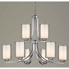 Modern Chandelier Double Glass Chrome Two Tier 9-Lt