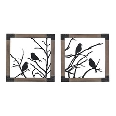 Ollerton-Set of 2 Birds On A Branch In Natural Wood Tone Frame