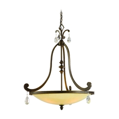 Pendant Light with Beige / Cream Glass in Classic Bronze Finish