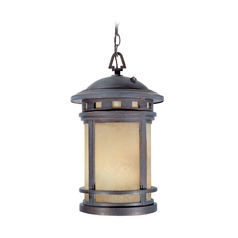 Outdoor Hanging Light with Amber Glass in Mediterranean Patina Finish