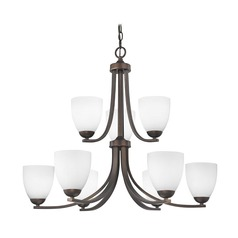 Two Tier Bronze Chandelier with Satin White Glass and Nine Lights