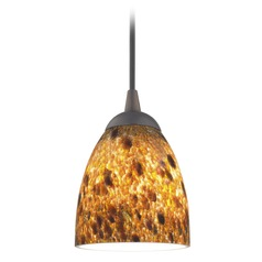 Design Classics Lighting Modern Mini-Pendant Light with Brown Art Glass 582-220 GL1005MB