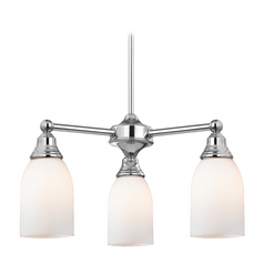 Mini-Chandelier with White Glass in Chrome Finish