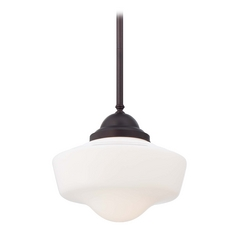 Pendant Light with White Glass in Brushed Bronze Finish