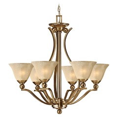 Light Amber Seeded Glass Chandelier Bronze Hinkley Lighting