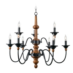 Madeline Light Wood Grain with Graphite Chandelier by Kenroy Home
