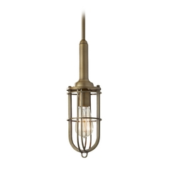 Feiss Lighting Mini-Pendant Light with Beige / Cream Cage Shade P1240DAB