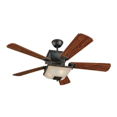 Ceiling Fan with Light and Amber Glass