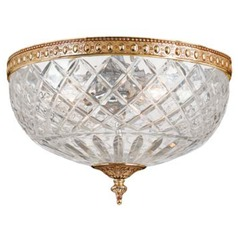 Crystal Flushmount Light with Clear Glass in Olde Brass Finish