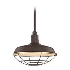 Recesso Bronze Barn Pendant Light with 16-Inch RLM Cage Shade