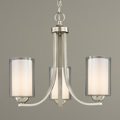 Mini-Chandelier Double Glass Shades Satin Nickel 3-Lt