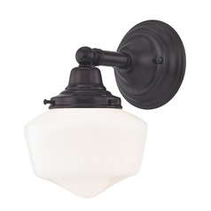 Schoolhouse Sconce Bronze White Opal Glass 1 Light 6 Inch Width