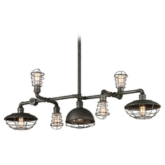 Troy Lighting Conduit Old Silver Island Light with Bowl / Dome Shade