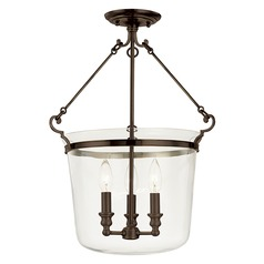 Semi-Flushmount Light with Clear Glass in Old Bronze Finish
