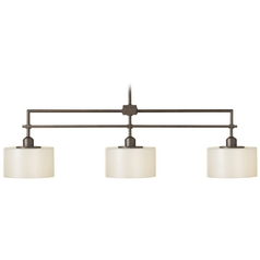 Modern Island Light with White Glass in Corinthian Bronze Finish