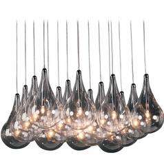 Modern Low Voltage Multi-Light Pendant Light with Clear Glass and 16-Lights