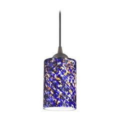 Design Classics Lighting Modern Mini-Pendant Light with Blue Glass 582-220 GL1009C