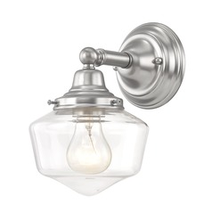 Clear Glass Schoolhouse Sconce Satin Nickel 1 Light 6 Inch Width