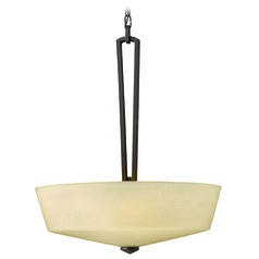 Pendant Light with Amber Glass in Buckeye Bronze Finish