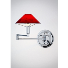 Holtkoetter Modern Swing Arm Lamp with Red Glass in Chrome Finish