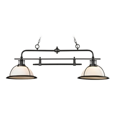 Billiard Light with White Glass in Oil Rubbed Bronze Finish