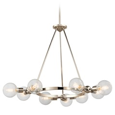 Mid-Century Modern 9-Light Chandelier Polished Nickel Garim by Kichler Lighting